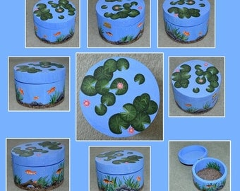 Fish Pond Designed Hand Painted Wooden Box
