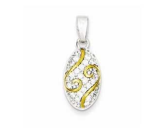 Sterling Silver and Gold Plating CZ Pendant