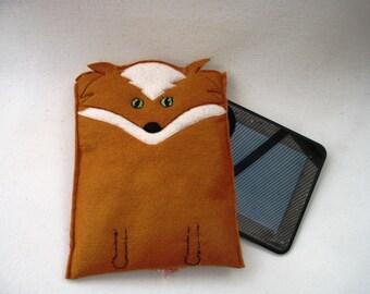 Brown Felt Fox Kindle Case, EReader Case, Electronics Case