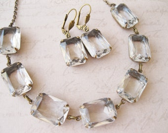 Art Deco Rhinestone Jewelry Set Old Hollywood Glam Bridal Set Estate Style Crystal Clear Drop Earrings Vintage Style Choker Necklace