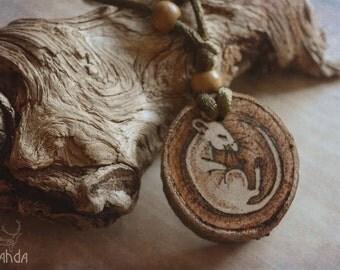 Sleeping mouse wood pendant