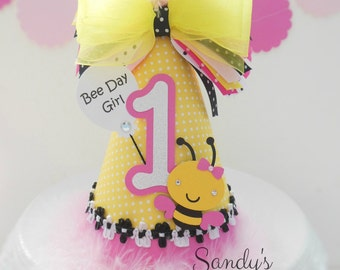 Lil' Bumblebee - Light pink and yellow polka dot - Birthday Party Hat - Personalized