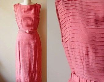 1950s Chiffon Silk Pleated Dress // coral pink // vintage dress