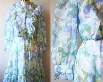 1970s sheer floral dress // shirt dress // vintage dress