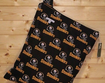 Cloth Diaper Wetbag, Steelers, Diaper Pail Liner, Diaper Bag, Day Care Size, Holds 12 Diapers, Size Large with Handle #L16