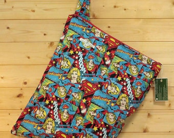 Cloth Diaper Wetbag, Supergirl, Diaper Pail Liner, Diaper Bag, Day Care Size, Holds 12 Diapers, Size Large with Handle  #L73