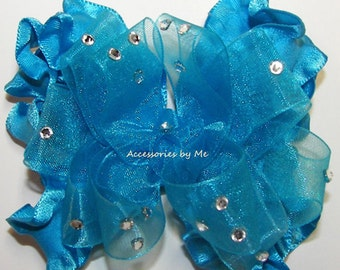 Glitz Ruffle Hair Bow, Turquoise Pageant Hairbow, Frilly Embellished Clip, Baby Girls Toddler Clips, Birthday Princess, M2M Cupcake Dresses