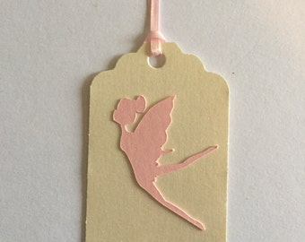 6 pink pixie fairies gift tags