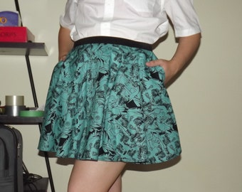 Green DC Ladies Skirt with POCKETS - Custom Size