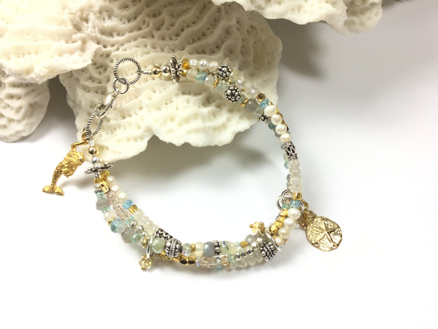 Mermaid Charm Bracelet, Mermaid Bracelet, Gemstone Bracelet, Beach Bracelet, Beach Jewelry, Beach Wedding Bracelet, Sundance Style Jewelry