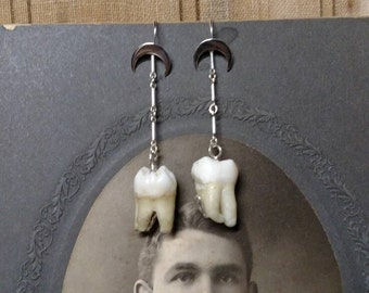 Sterling Silver Cresent Moon and Human Tooth Earring