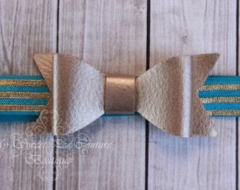 Gold Mini Leather Bow Headband- Mini Bow- Gold Bow Headband- Bow- Gold Bow- Teal Headband- Baby Headband- Newborn Headband- Photo Prop