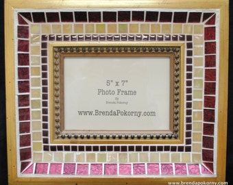 "Ruby & Old Gold Large Decorative 5"" x 7"" Mosaic Frame  MOF1132"