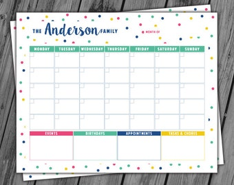 Printable Calendar, Personalized Family Calendar, Wall Calendar, Printable Dry Erase Calendar, Undated Calendar, Family Planner - PRINTABLE