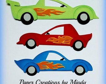 Race car toys boy girl Premade paper piecing for scrapbooking embellishment