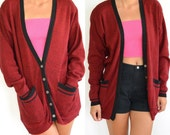 80's Long Cardigan //Oversized // Deep Red Cotton // Made In USA