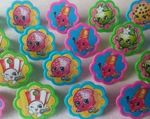 24 SHOPKINS rings for cupcake toppers cake birthday party favors goodie bags decorations decor Kooky Cookie Apple Blossom D'lish Donut 1C