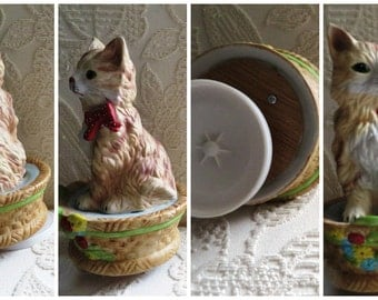 Cat in a basket, Cat Music Box, Flower Basket cat figurine