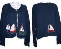 Orvis Cardigan, Sailboat Cardigan, Lighthouse Cardigan, Nautical Cardigan, Orvis Sweater, Women's Size Medium Sweater, Vintage 90s Cardigan