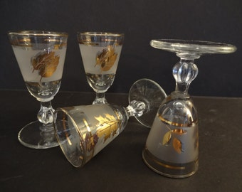 Libbey  Golden Foliage Stemmed Cordiall or Liqueur Glasses - Set of 4 - Gold Leaf Stemmed Glasses - Mid Century - Mad Men Barware
