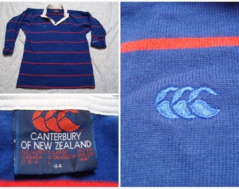 Vintage Retro Men's Canterbury of New Zealand Rugby Shirt Blue Red Stripes Buttonup Long Sleeve Large 44