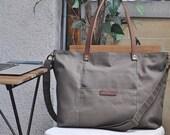 Gray Canvas Tote Bag, Shoulder bag, Medium, Unisex, Waterproof, Laptop Bag, Messenger bag, Everyday bag, Travel, weekender, Leather bag