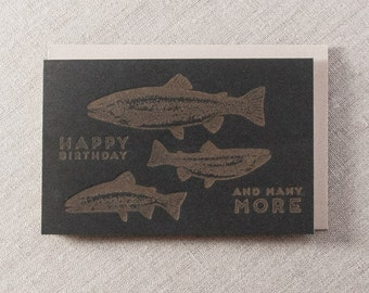 Happy Birthday and Many More Letterpress Greeting Card