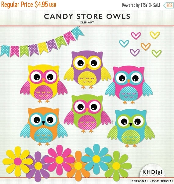MAY SALE Owl ClipArt 6 owls 6 hearts 6 flowers & by KHDigi
