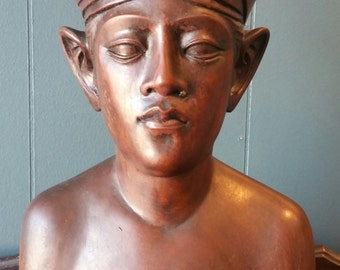 Bali Bust sculpture. Signed Klungkung