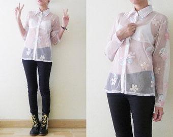 VTG white with pastel flowers mesh blouse, collar see through shirt, sheer top, long sleeve, button up,pastel grunge,kawaii,goth,punk, S-M-L