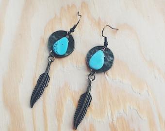 Howlite Feathered Earrings