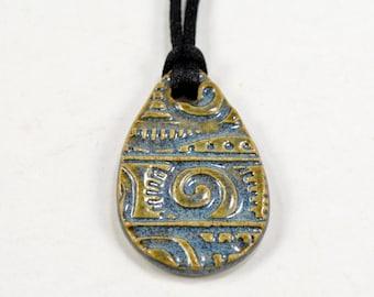 Ceramic Pendant Teardrop Necklace with Black Satin Cord Pottery Jewelry Blue