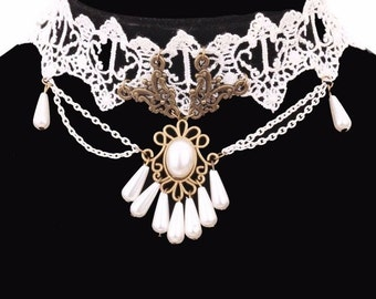 Women Bridal White Lace Beaded Chocker Necklace Collar