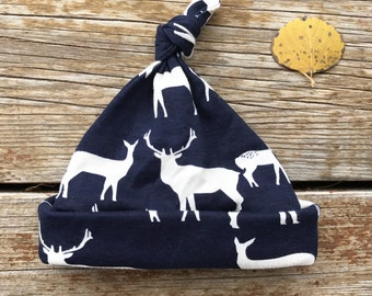 Organic Baby Beanie, Rustic, Elk, Deer, Toddler, Blue, Navy, Hat, Boys, Girls, Nature, Wildlife, Newborn, Gift