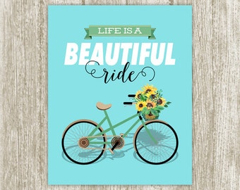 Quote Printable, Bicycle Printable, Life Is A Beautiful Ride Poster, Nursery Wall Art, Bicycle Print, Retro Wall Decor 8x10 Instant Download