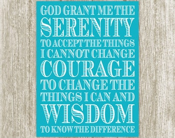 Serenity Prayer Wall Art, Serenity Printable, Turquoise Blue Spiritual Art, Inspirational Poster, Quote Print, 5x7 8x10 11x14 16x20 18x24