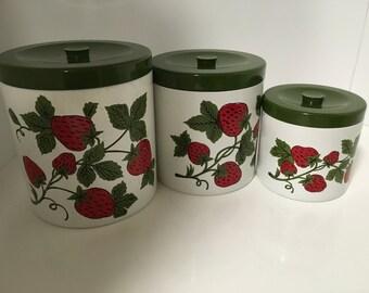 Vintage Strawberry Canister Set 3pc Japan
