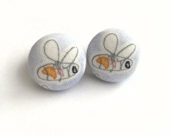 Bumblebee light blue lemonade fabric button earrings