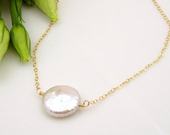 Wedding Gifts for Bride from Maid of Honor Gift, Mother of the Bride Gift from Bridesmaid Gift Necklace Freshwater Pearl Jewelry for Her