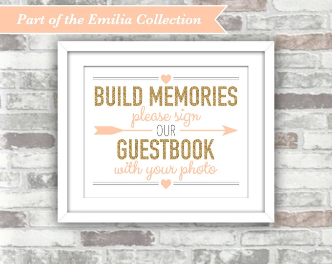 INSTANT DOWNLOAD - EMILIA Collection Printable Wedding Photo Guestbook Sign Digital Files 8x10 Gold Glitter Blush Peach-Pink Build Memories