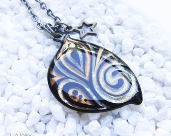 Maeve Fairy Wing Pendant, Shape 1 Black / Champagne Copper