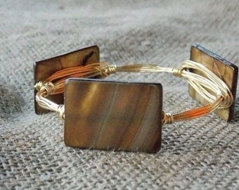 Neutral Cafe' Latte Wire Wrapped Bangle