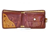 Mens Tooled Leather Wallet//Brown Hand Tooled Leather Billfold
