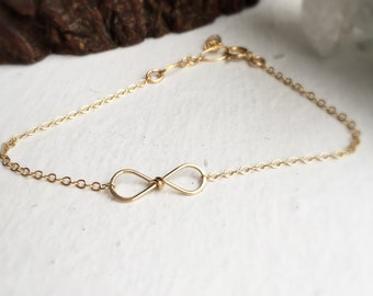 gold filled bow bracelet infinity