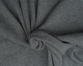 """Novelty Heather Charcoal Cotton Rib Fabric by the Yard 37""""W 5/16"""