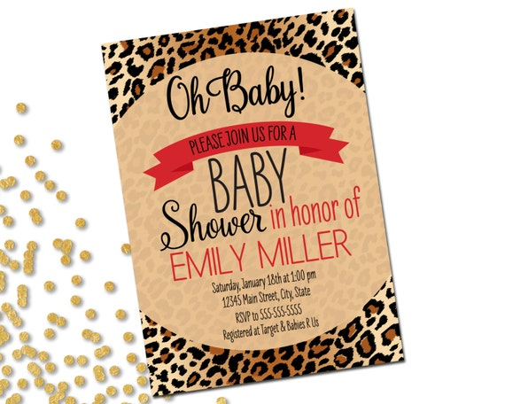 animal print baby shower invitation brown cheetah leopard print with