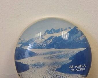 Vintage Alaska Souvenir Lucite Paperweight Blue
