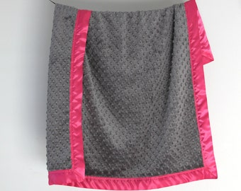 Baby Blanket, Gray Minky Dot with Hot Pink Satin Trim