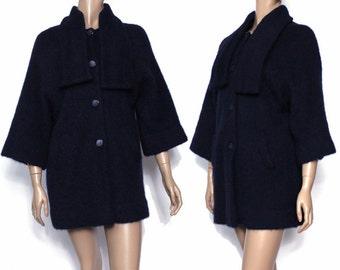 Vintage 1960s Coat Jacket Navy Blue Satin Lined Stroller Length Rockabilly Retro Femme Fatale Bell Sleeves