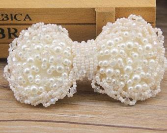 Handmade Pearl Bow Bead Bow Embellishment (100x50 mm) WT-008